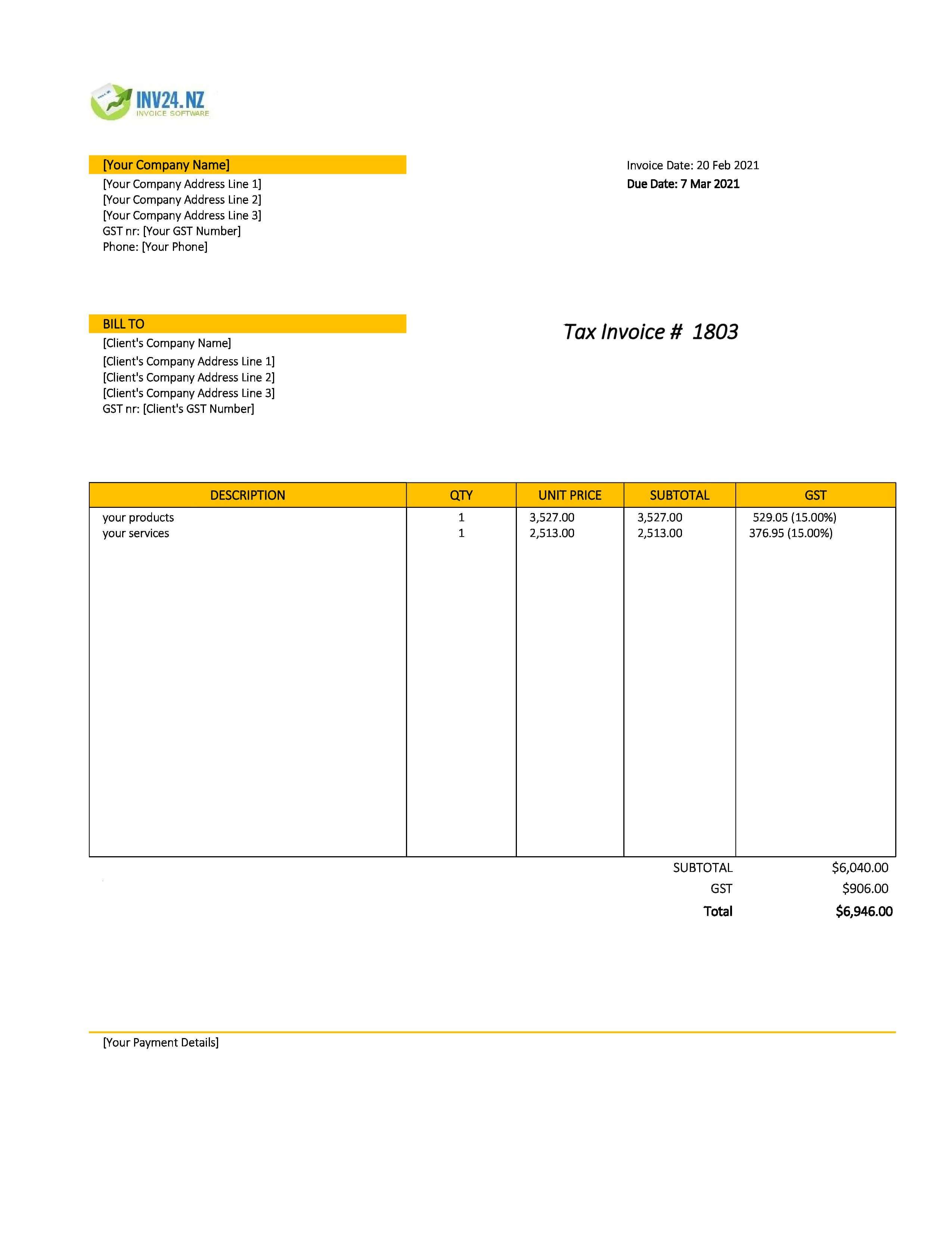 sales invoice template nz