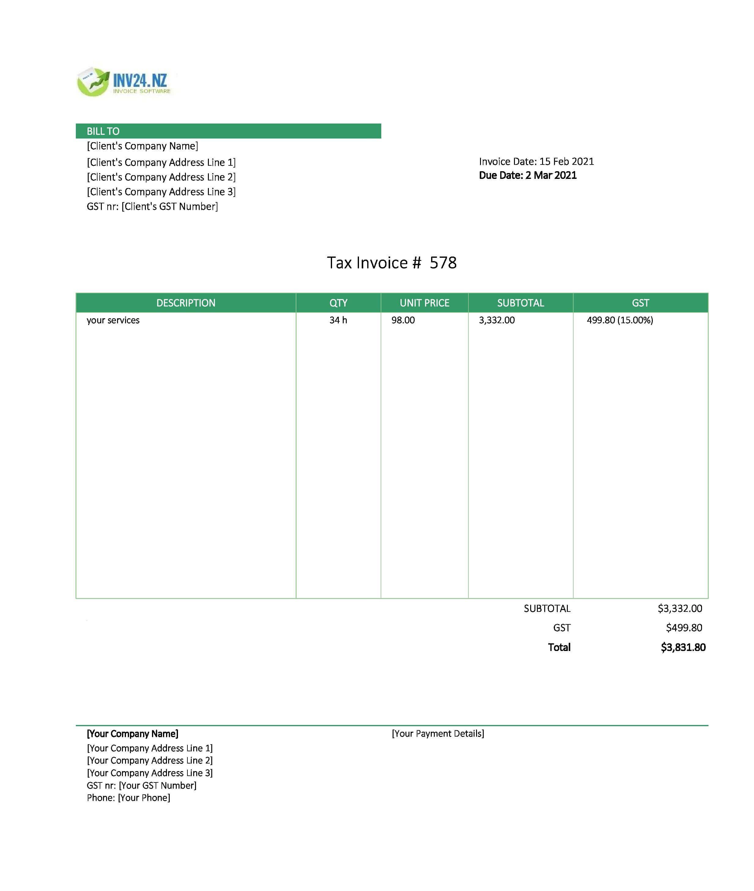service invoice template nz
