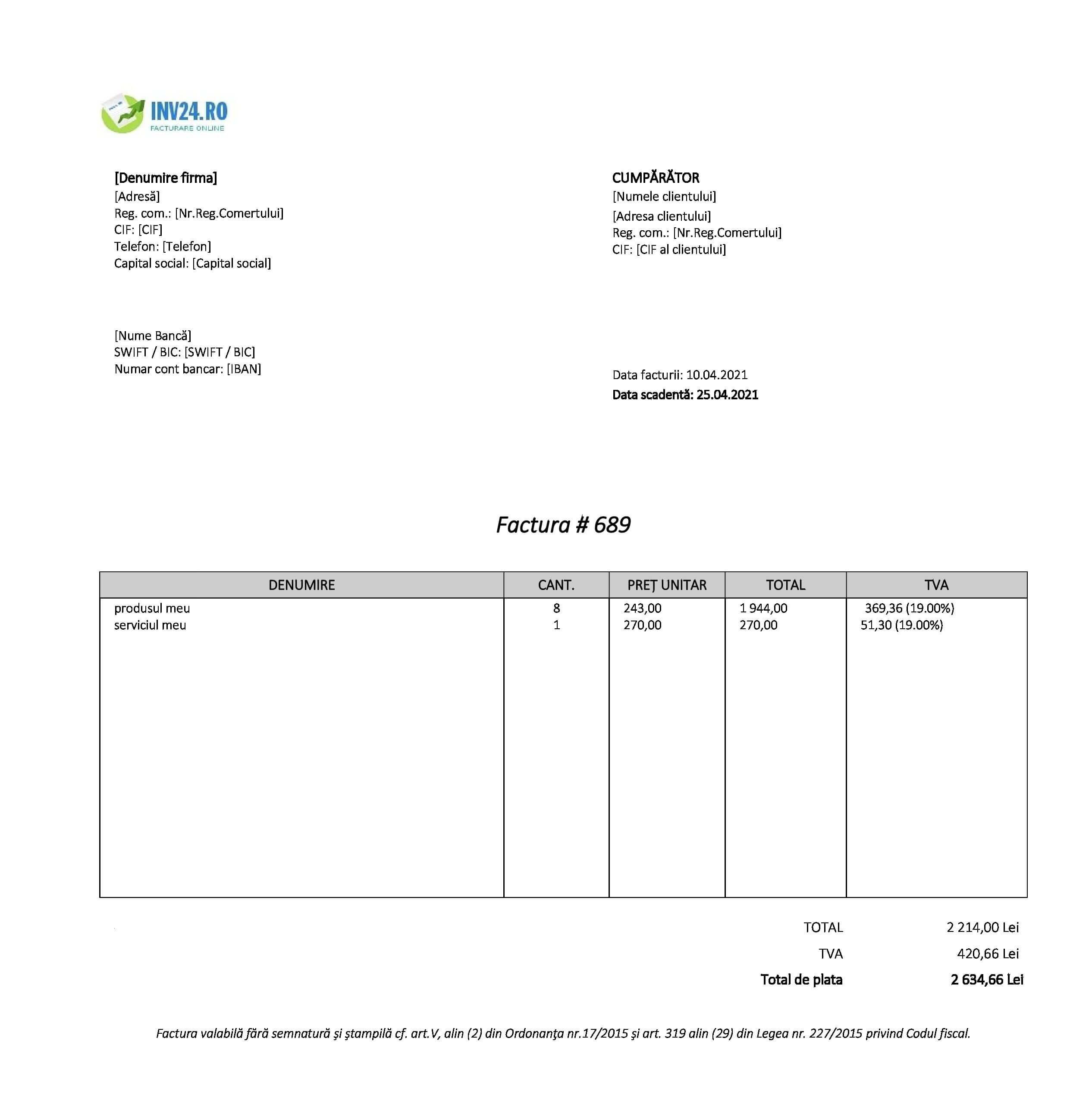 factură electronica model