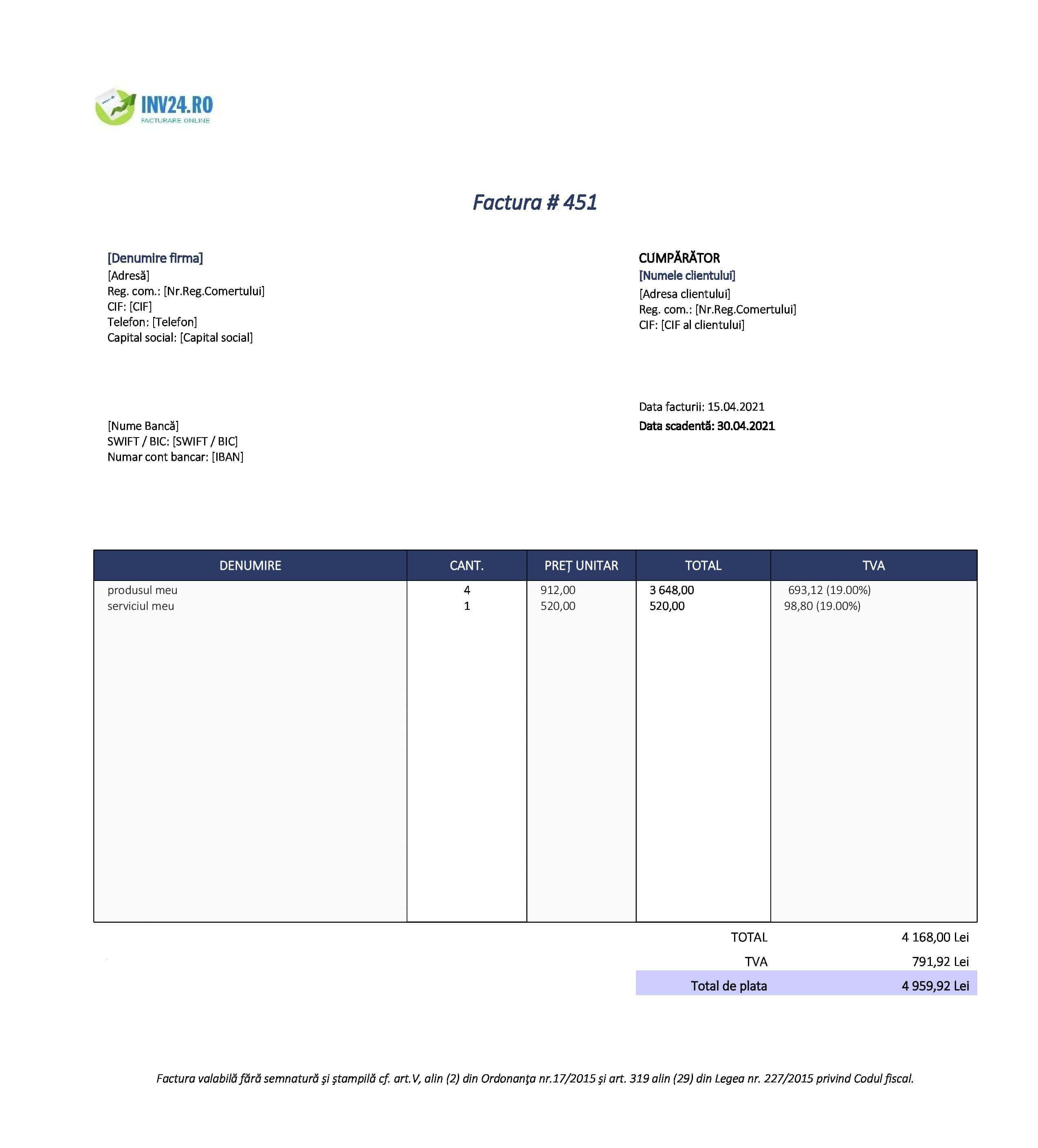 factură simplificata model