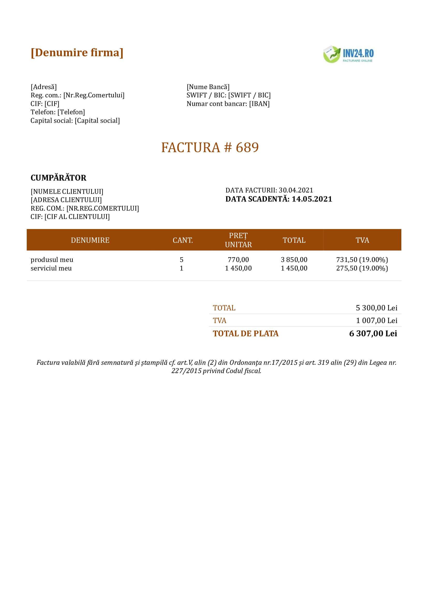 model factură online
