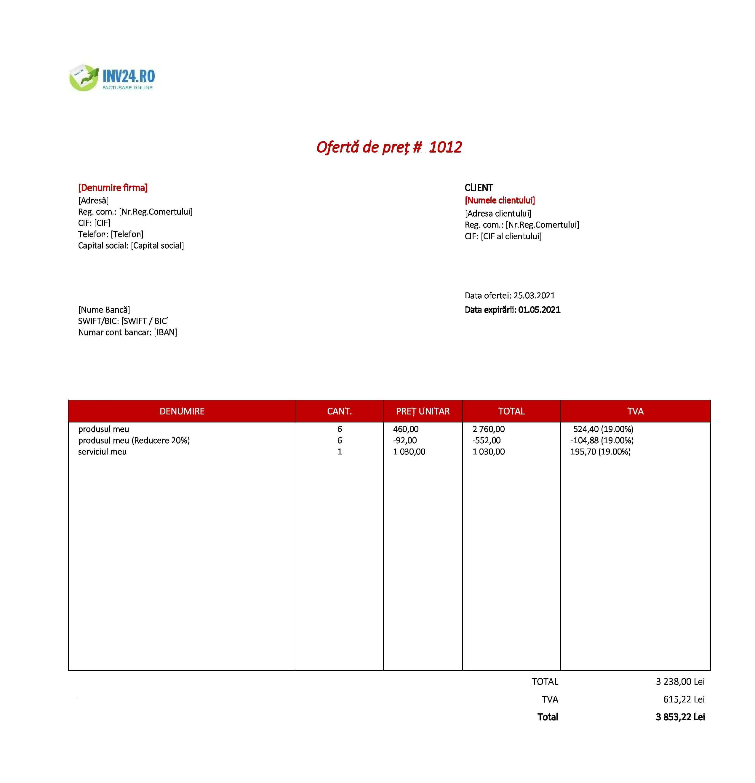 model formular ofertă de preț