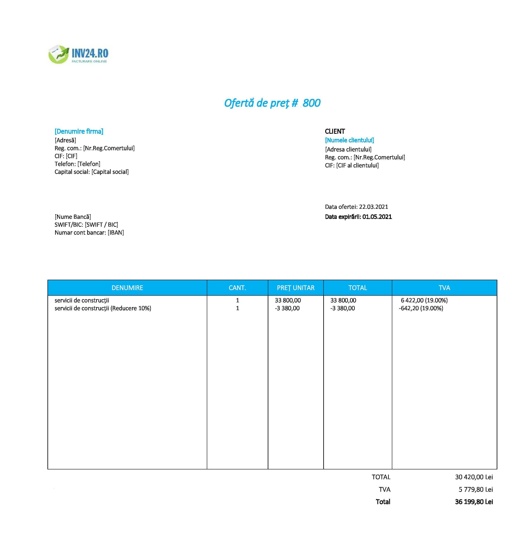 model ofertă de preț constructii