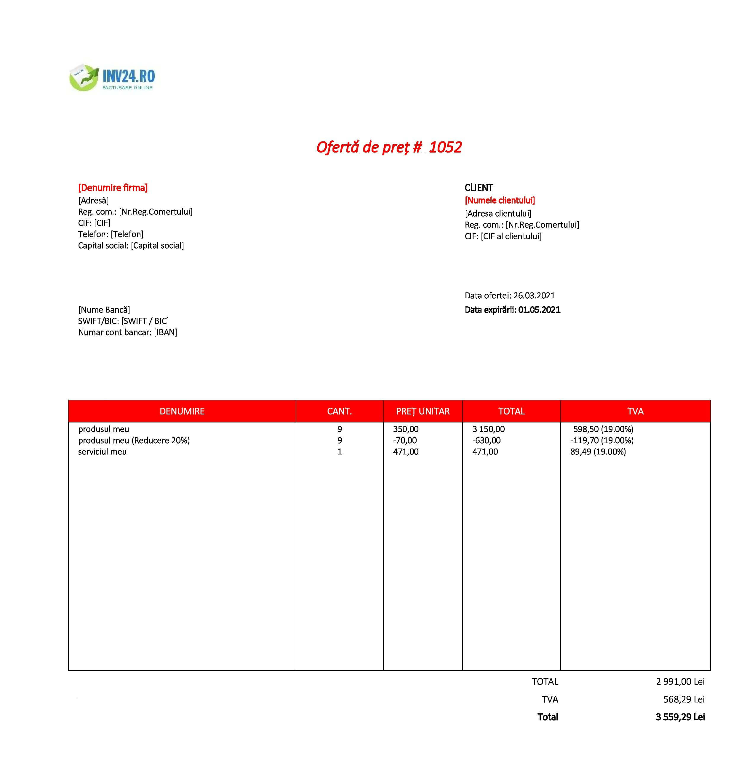 model ofertă de preț xls