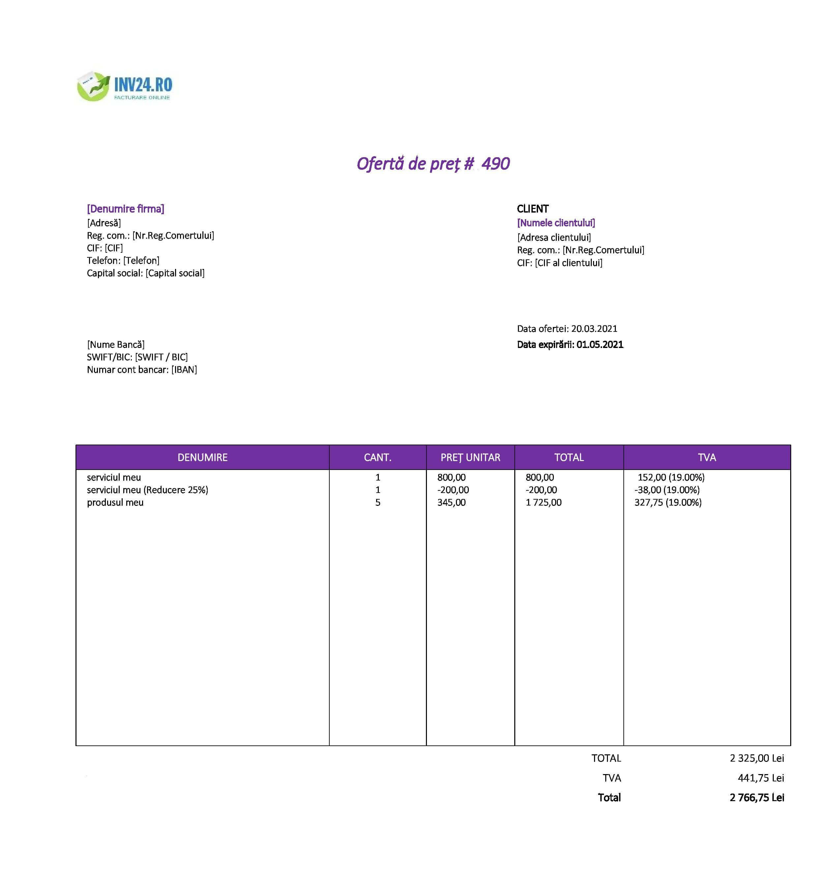 model ofertă tehnica si financiara