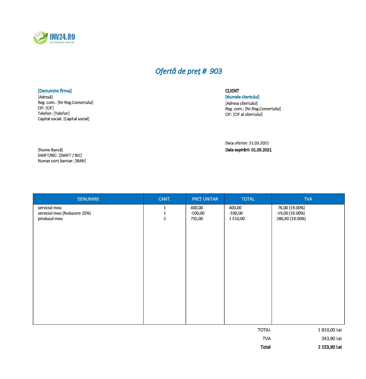 ofertă comerciala model