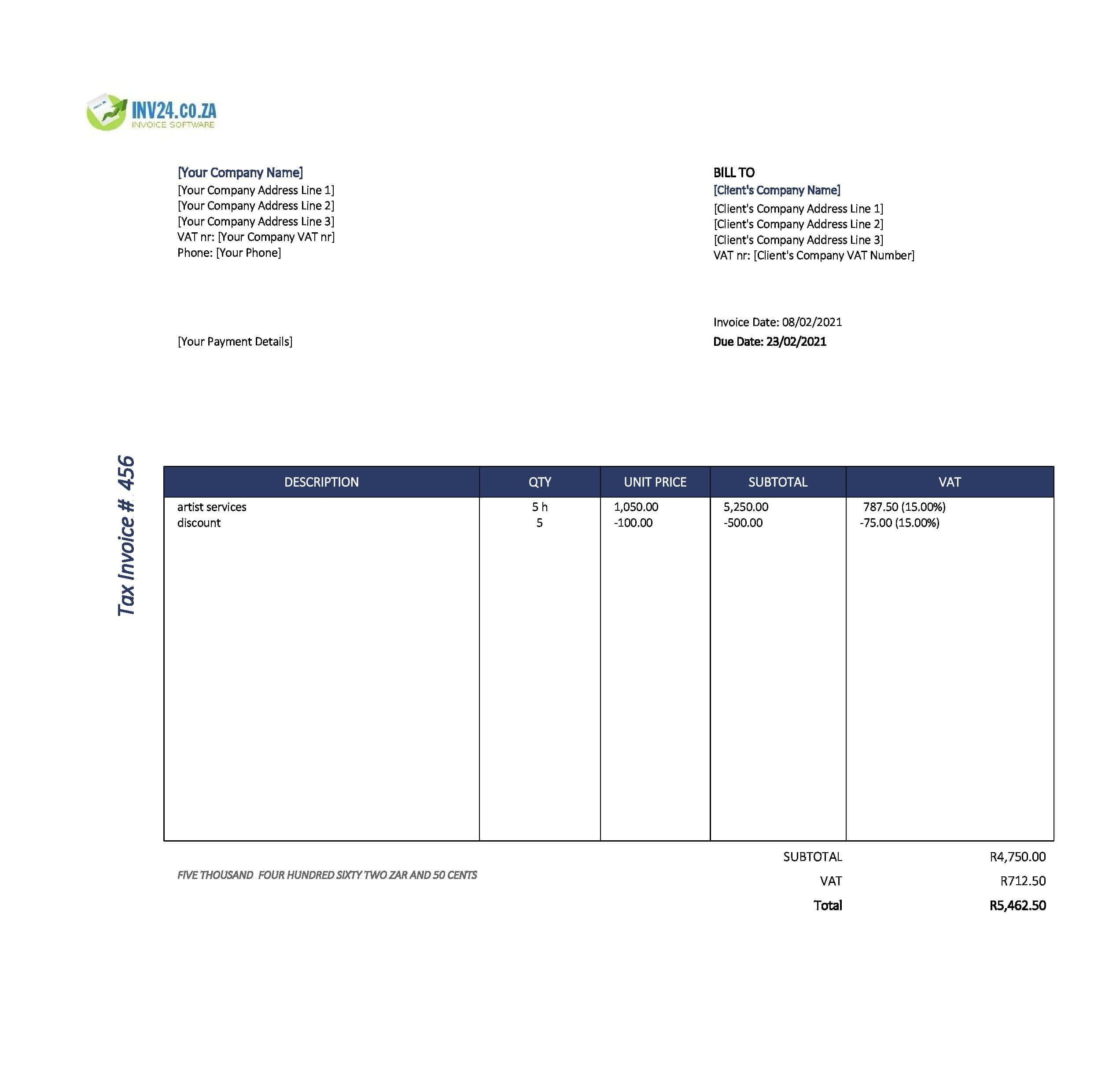 artist invoice template south africa