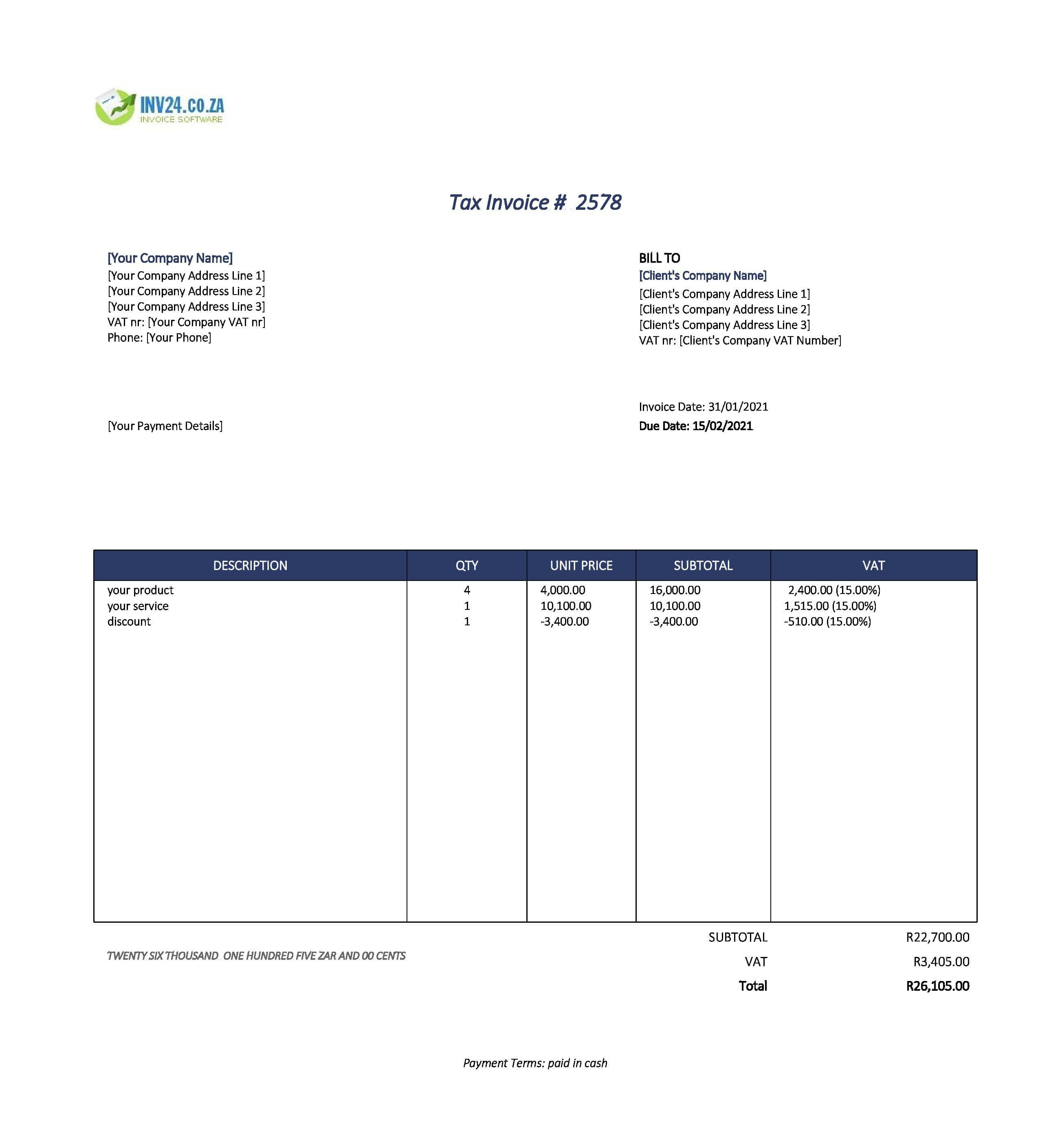 cash invoice template south africa