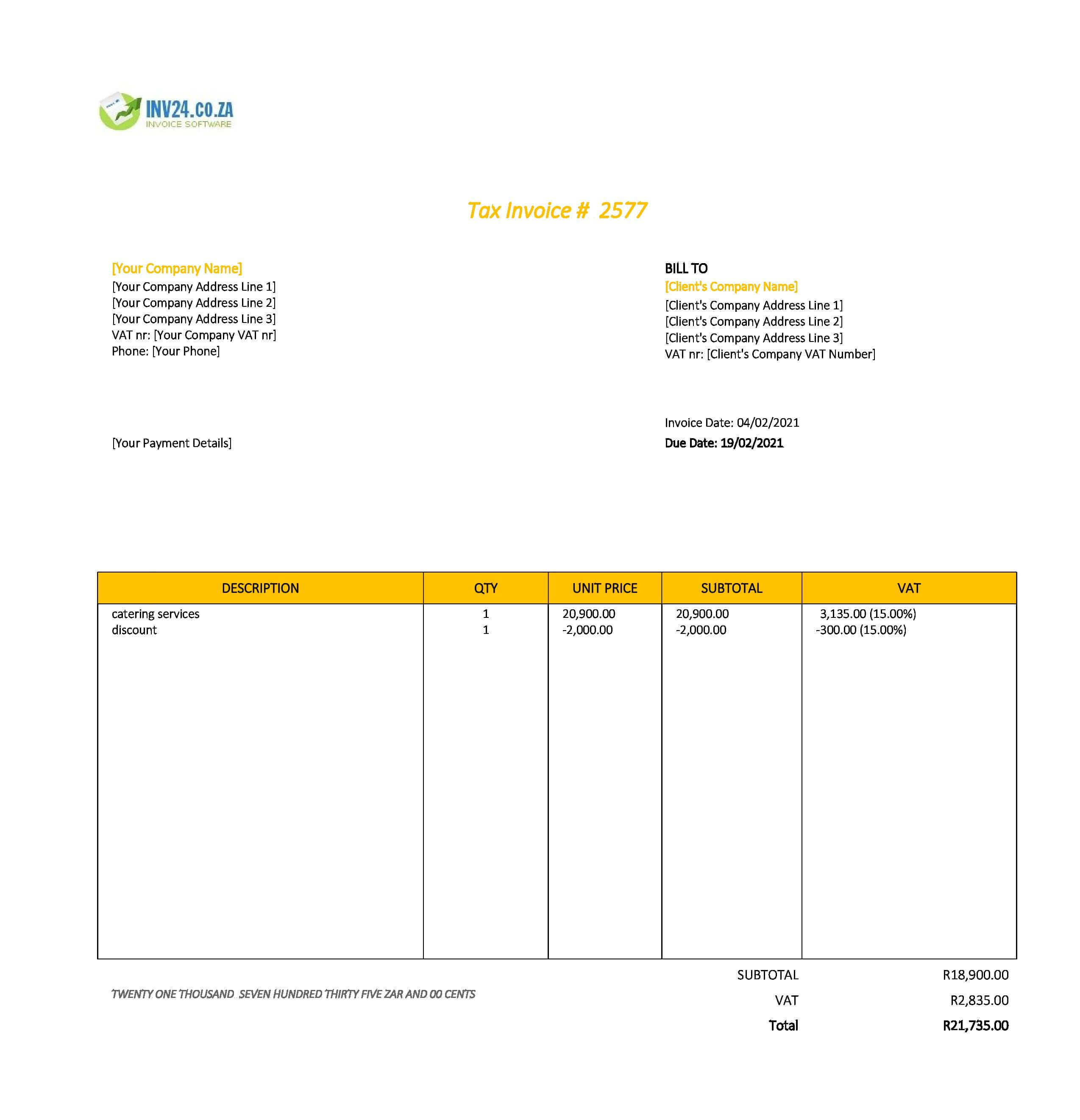 catering invoice template south africa