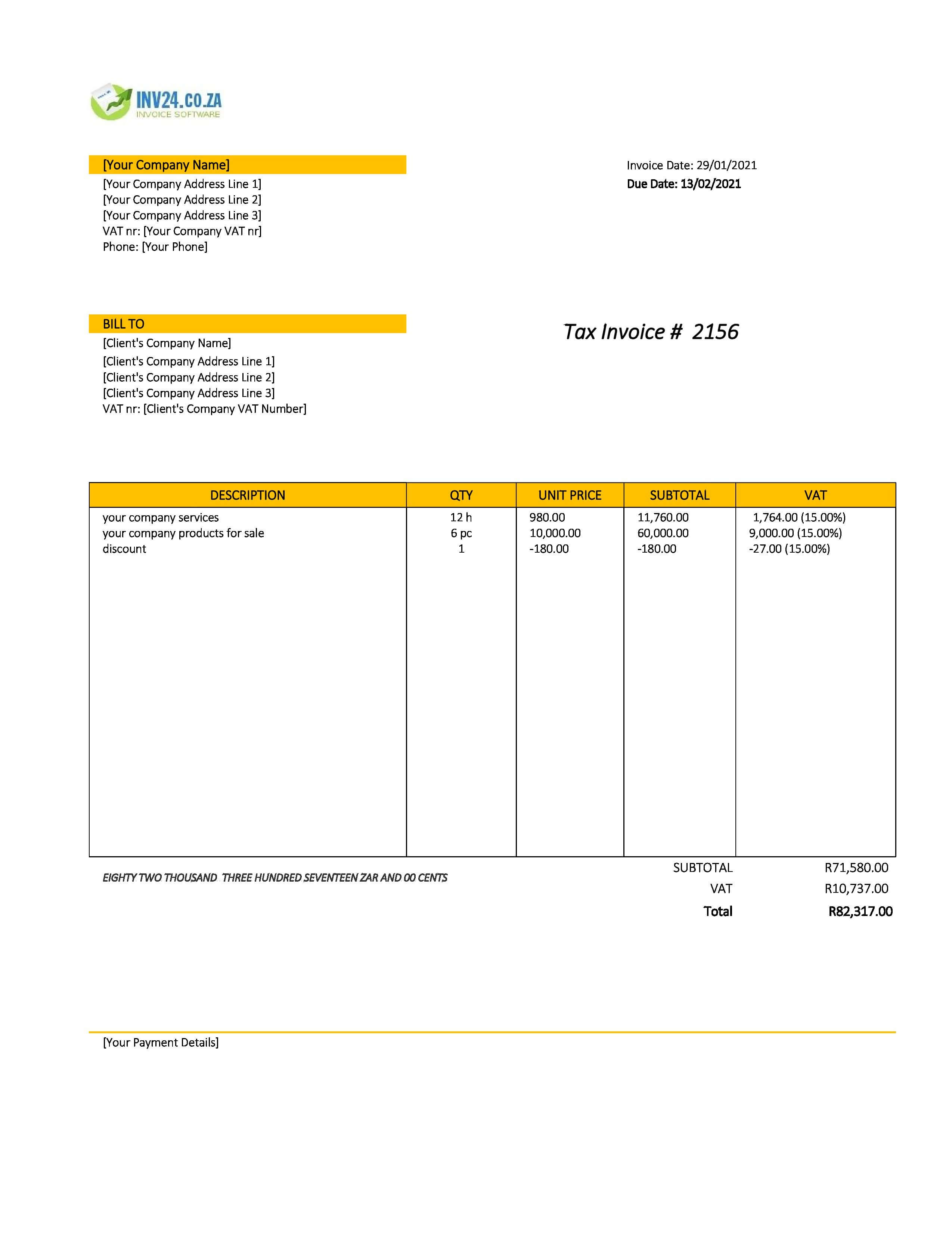 company invoice template south africa
