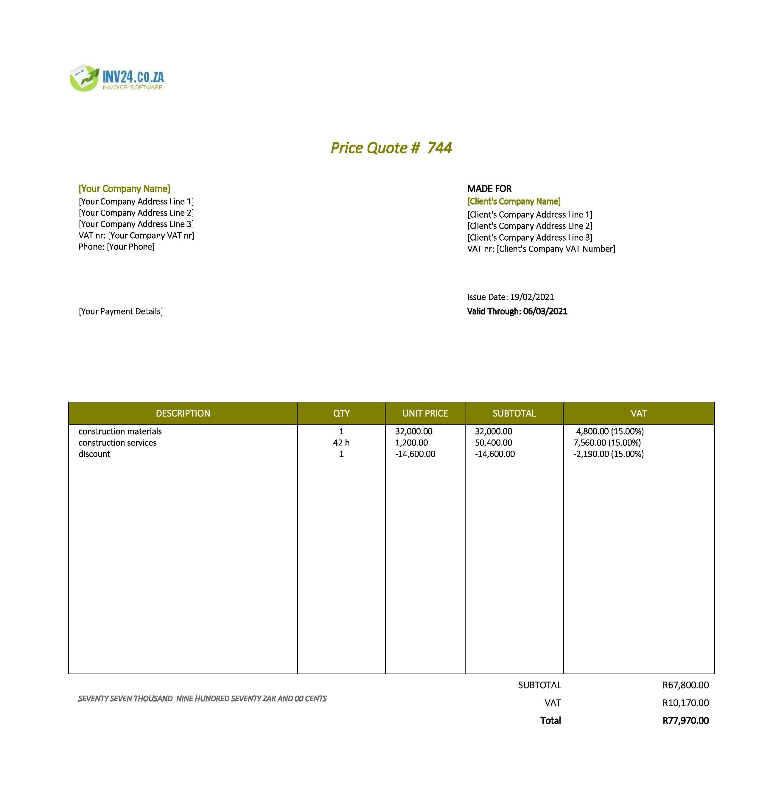 construction quotation template south africa