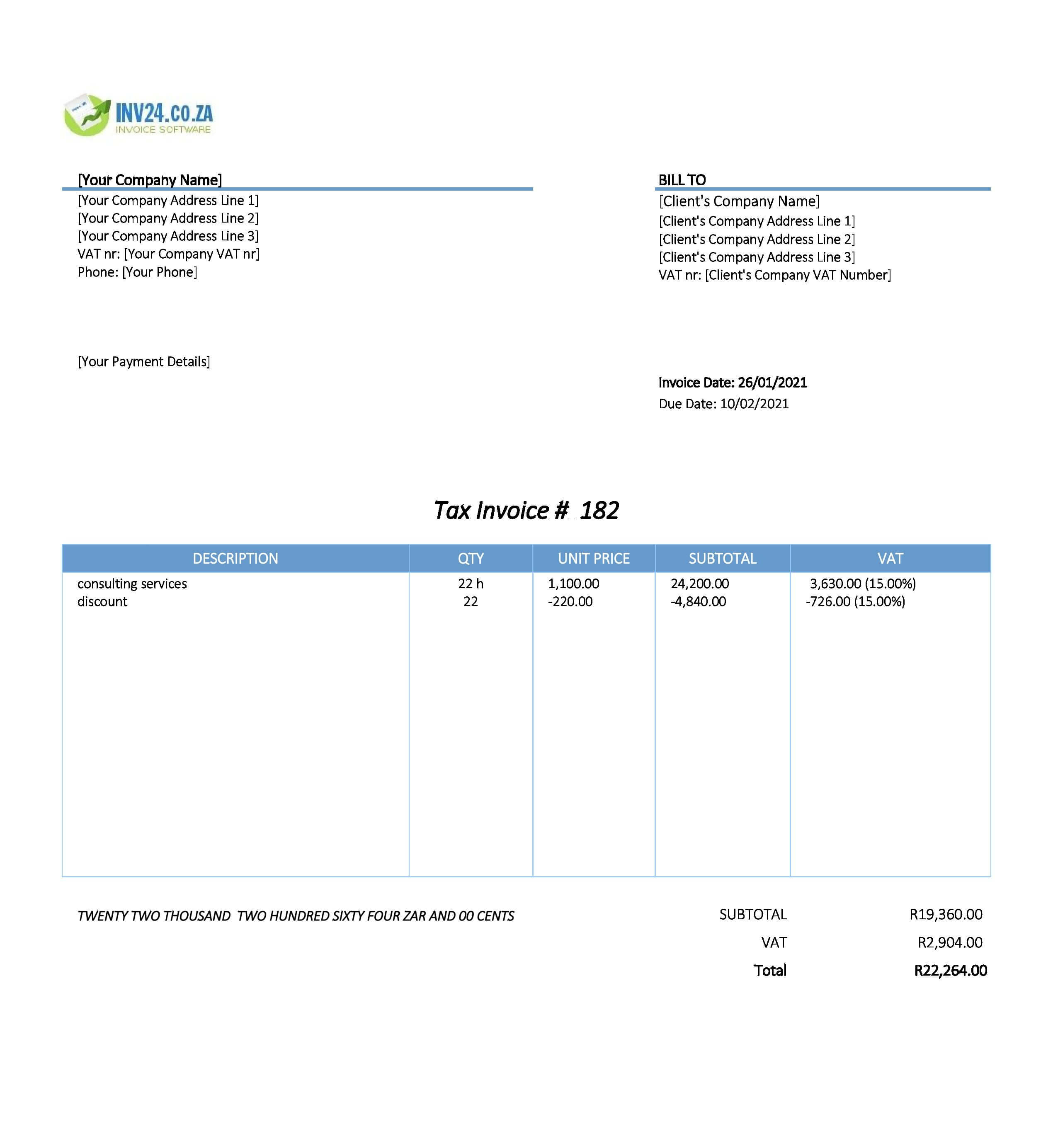 consulting invoice template south africa