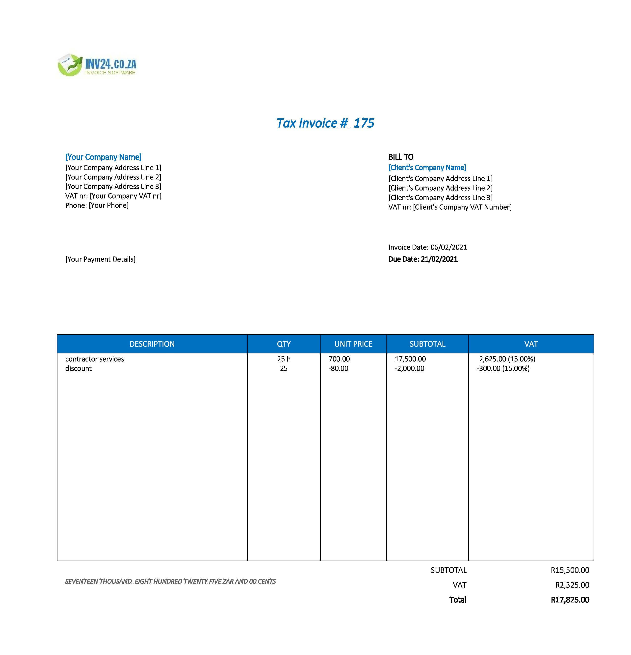 contractor invoice template south africa