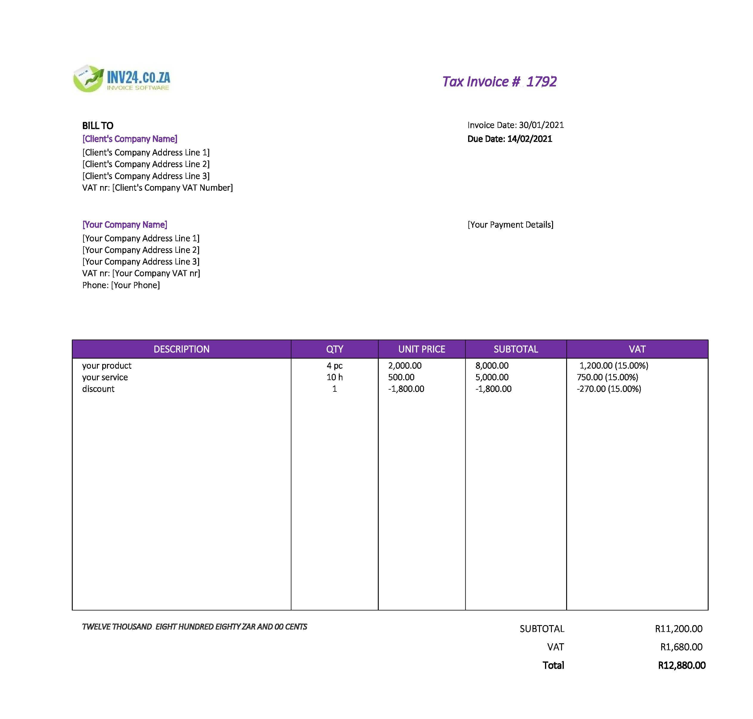 easy invoice template south africa