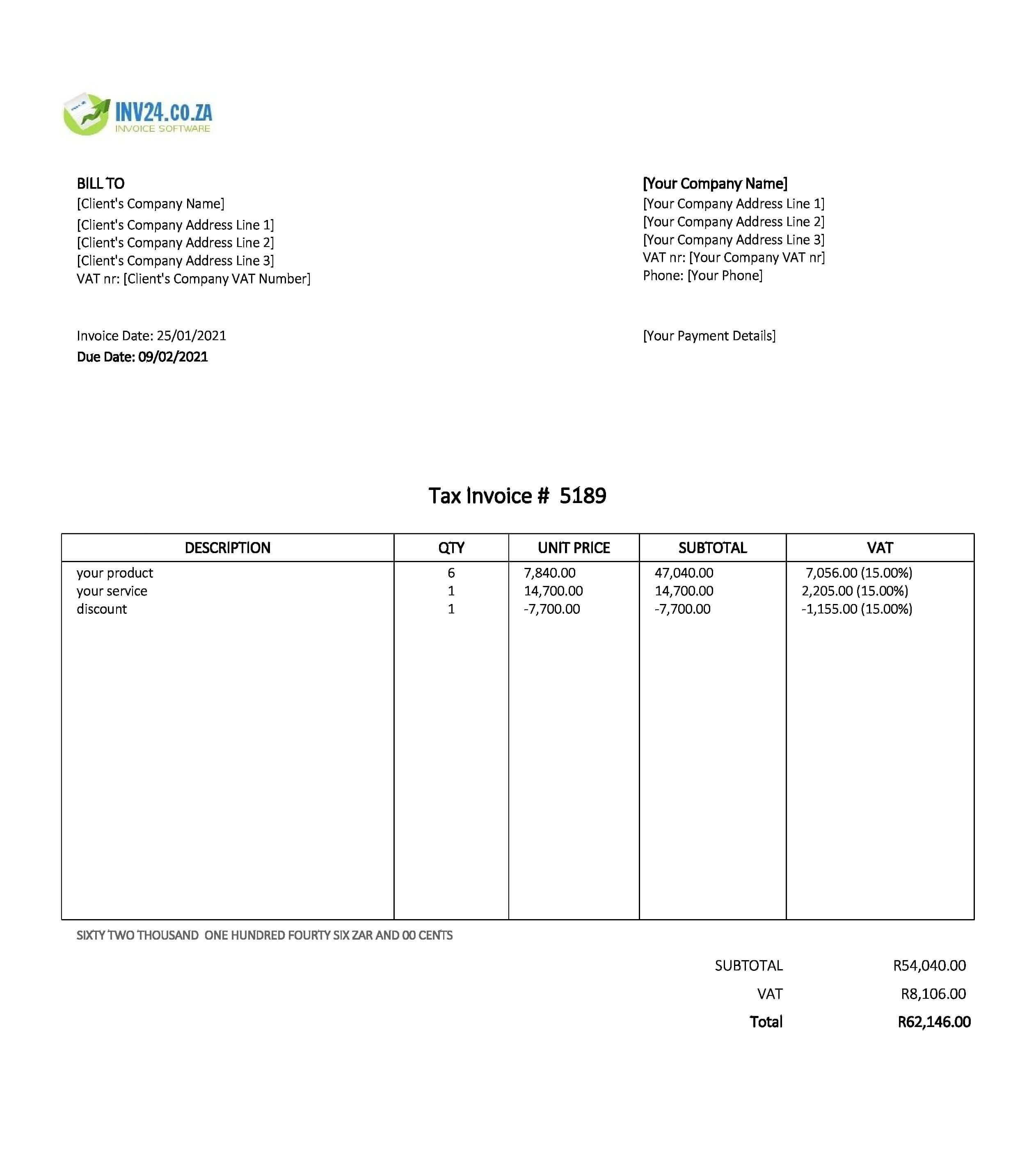 google sheets invoice template south africa