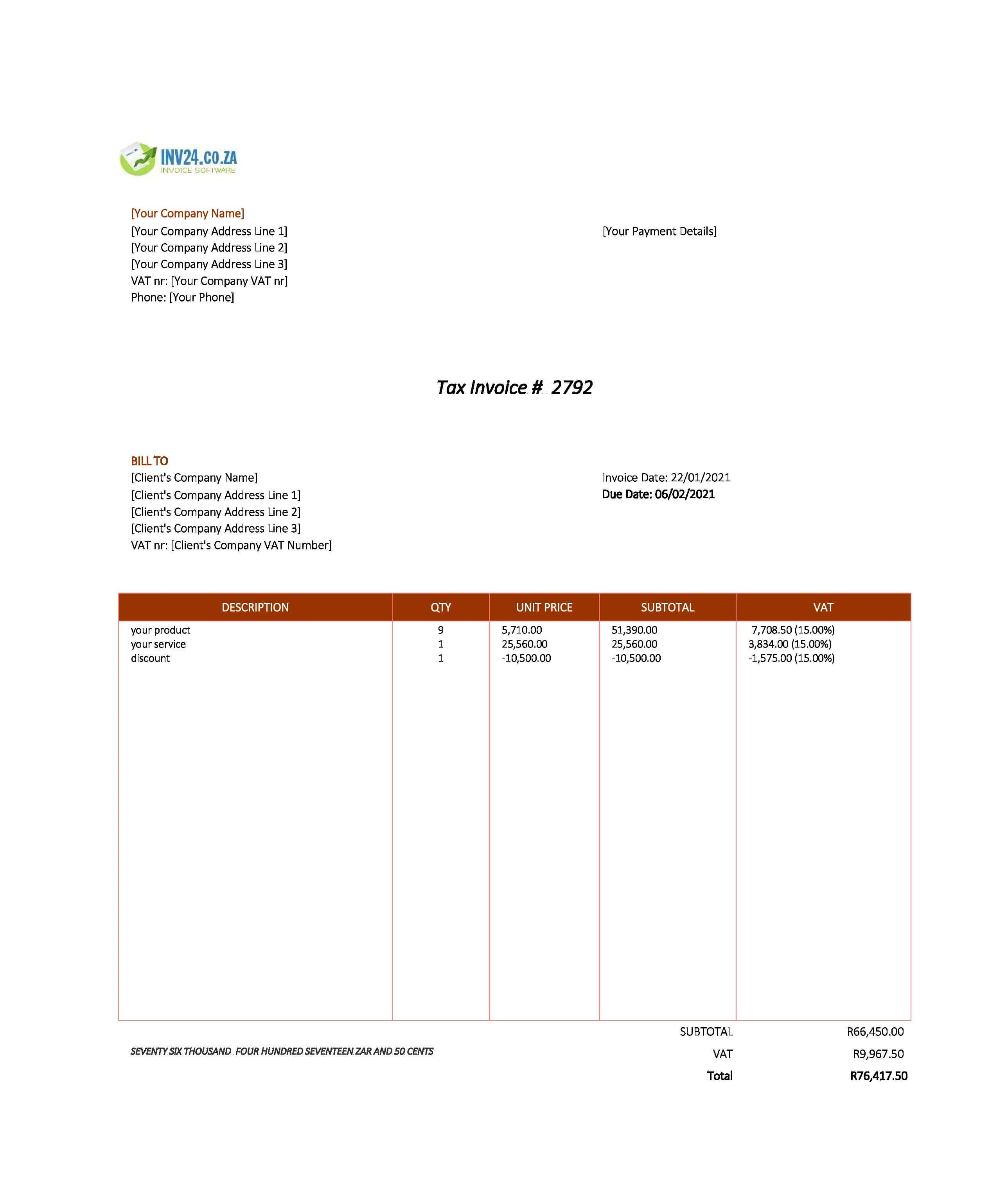 invoice example south africa