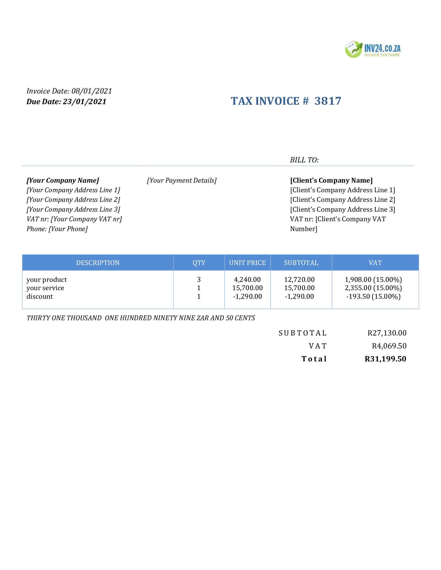 invoice format south africa