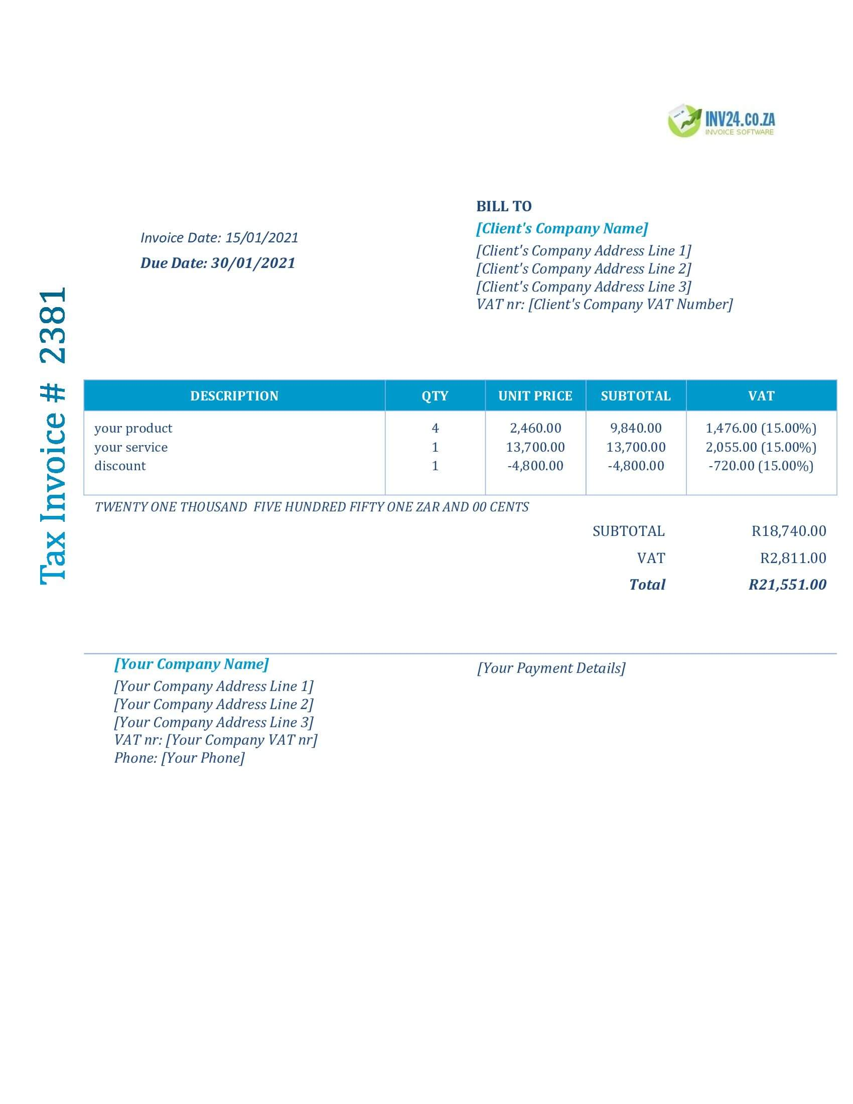 invoice layout south africa