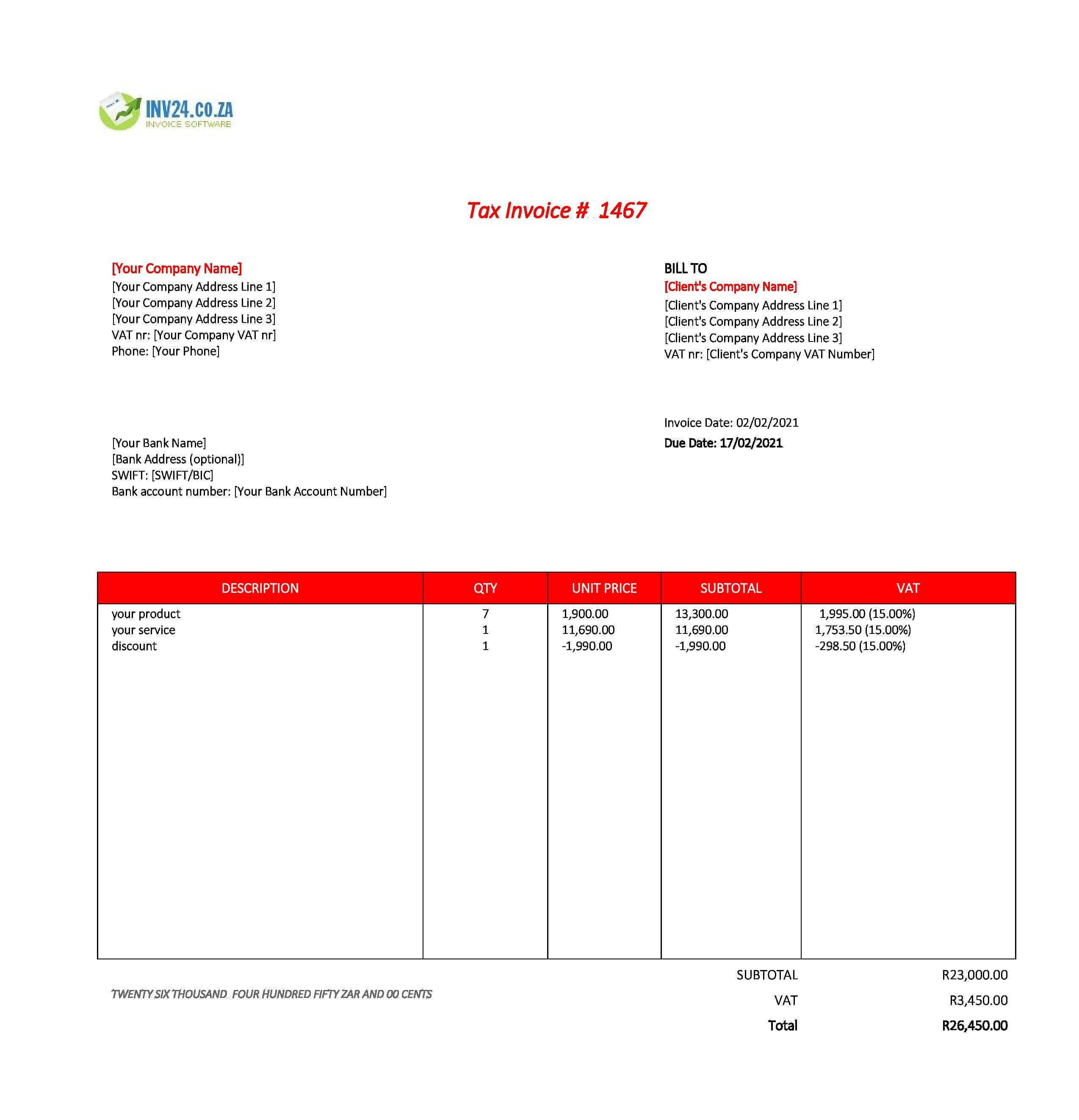 invoice template with bank details south africa