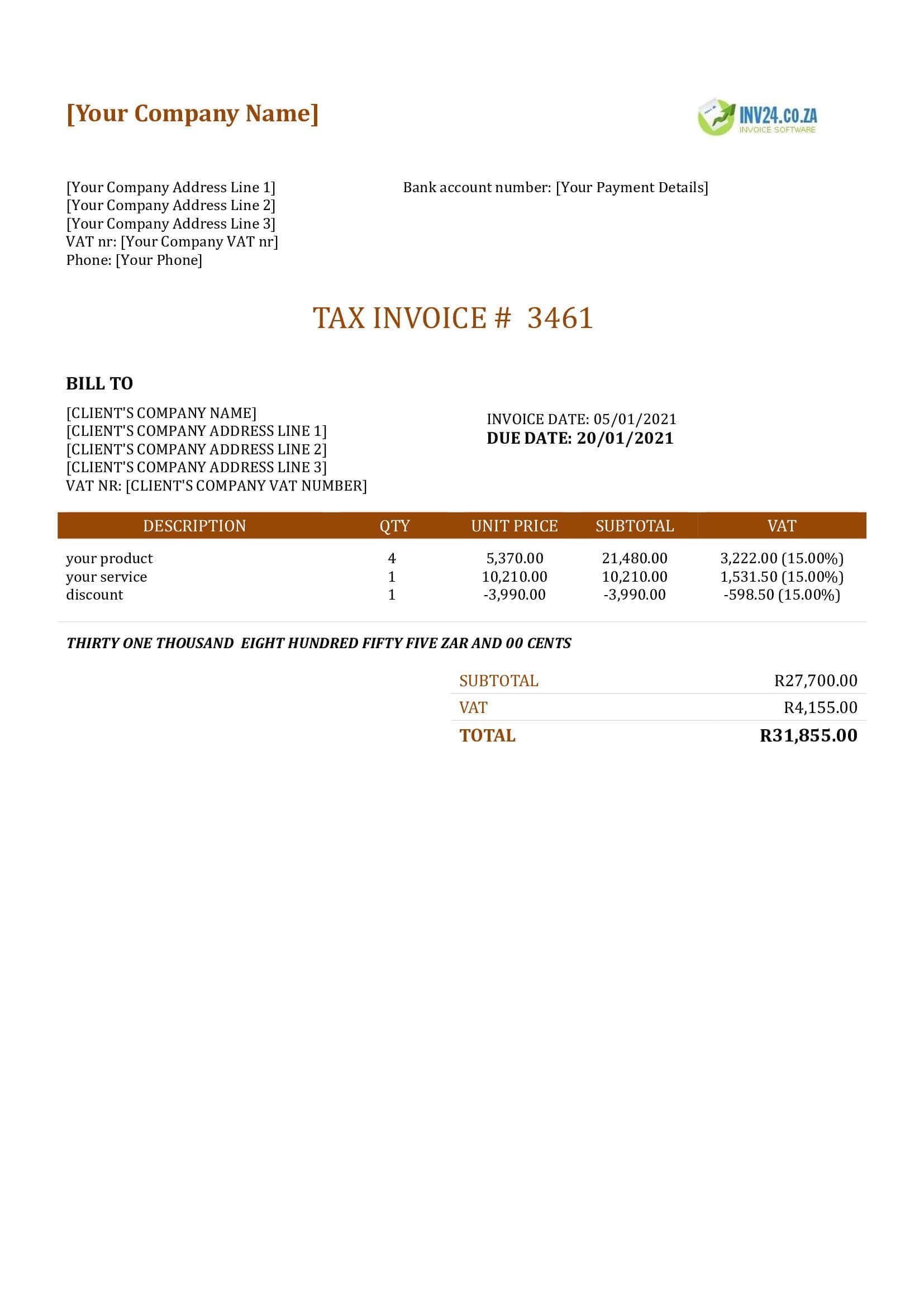 invoice template with discount south africa