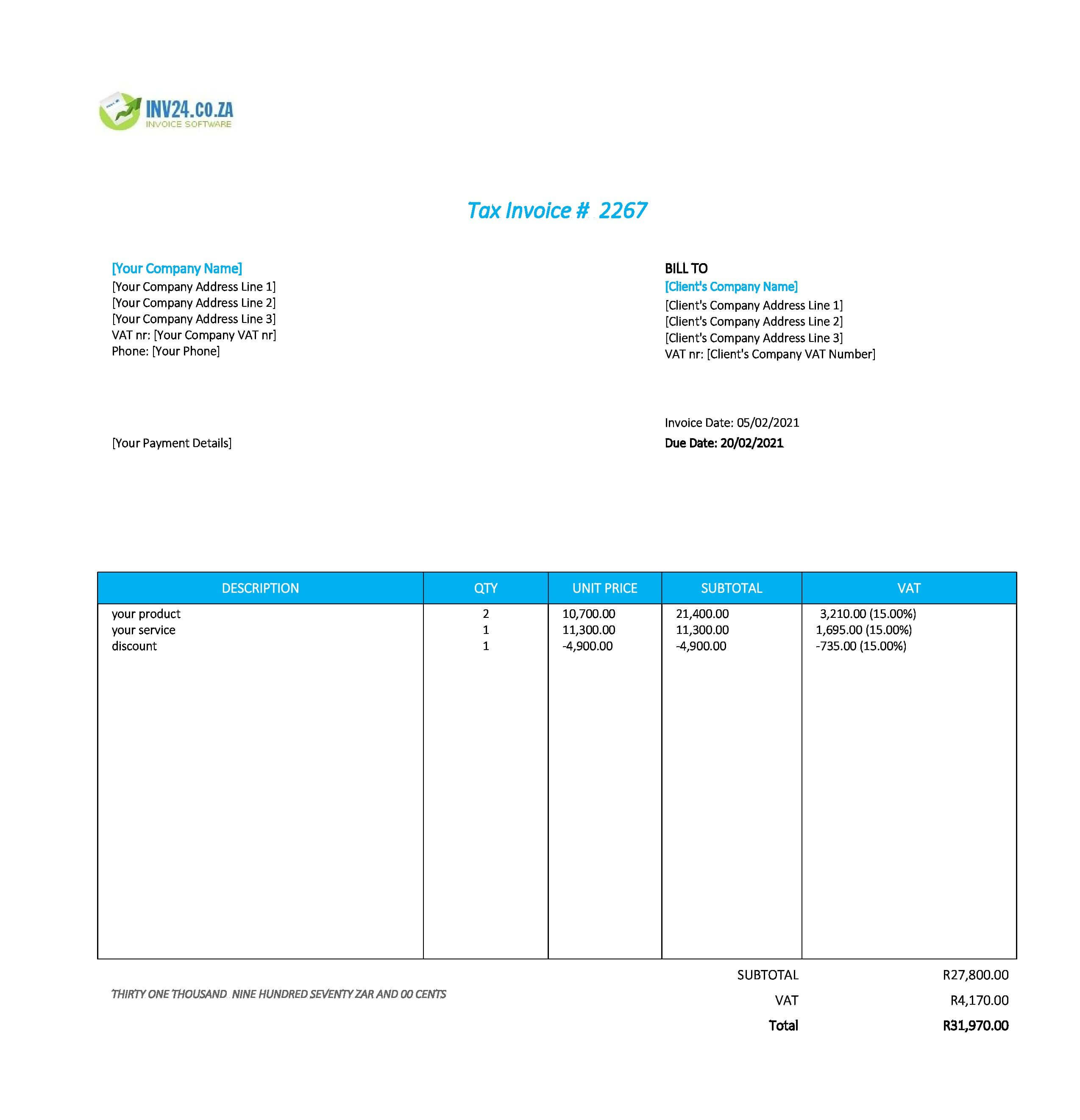 modern invoice template south africa