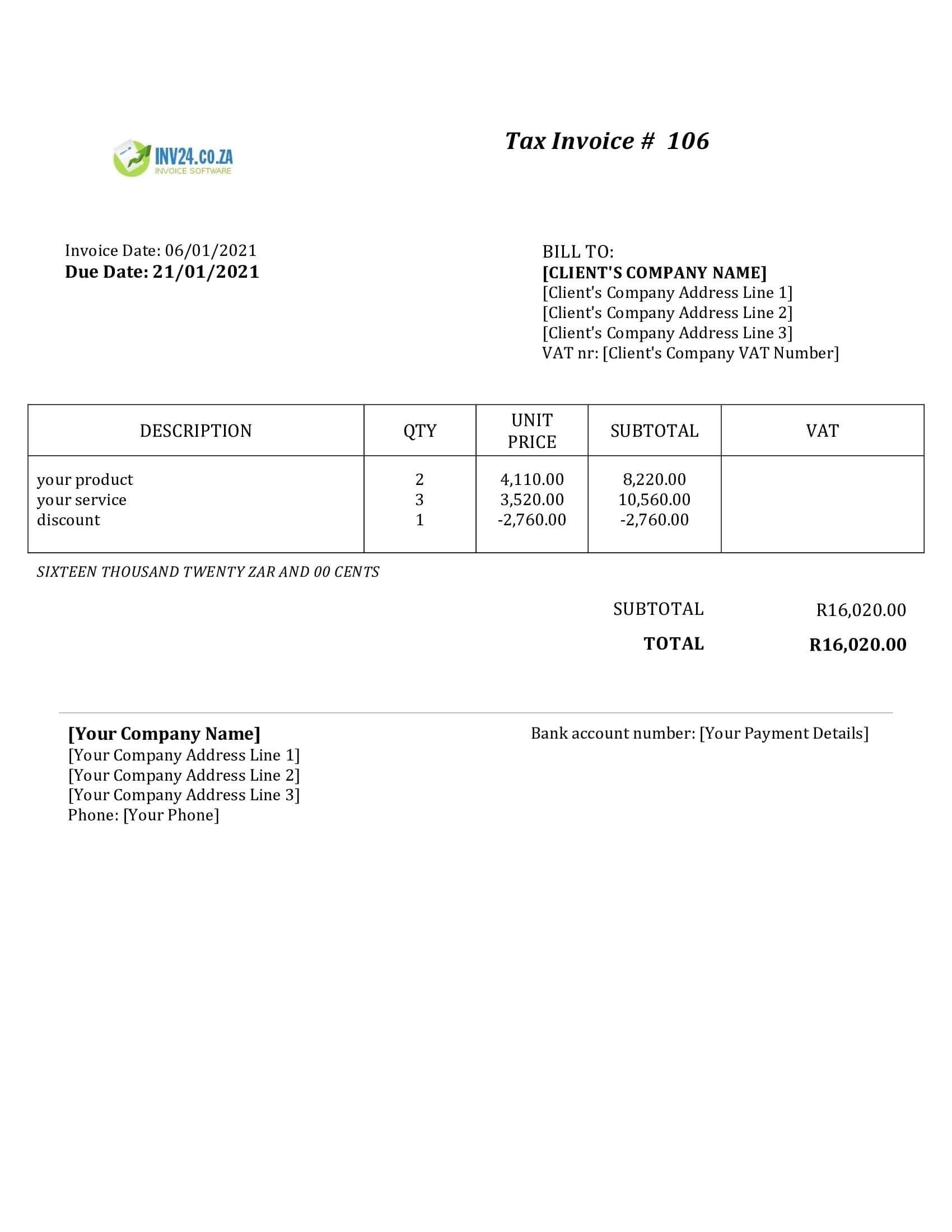 non vat invoice template south africa