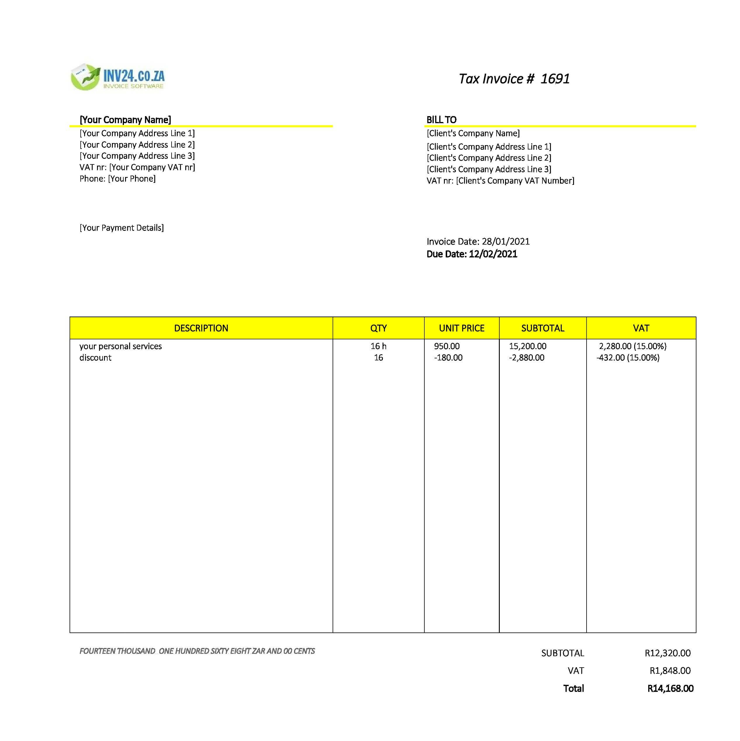 personal invoice template south africa