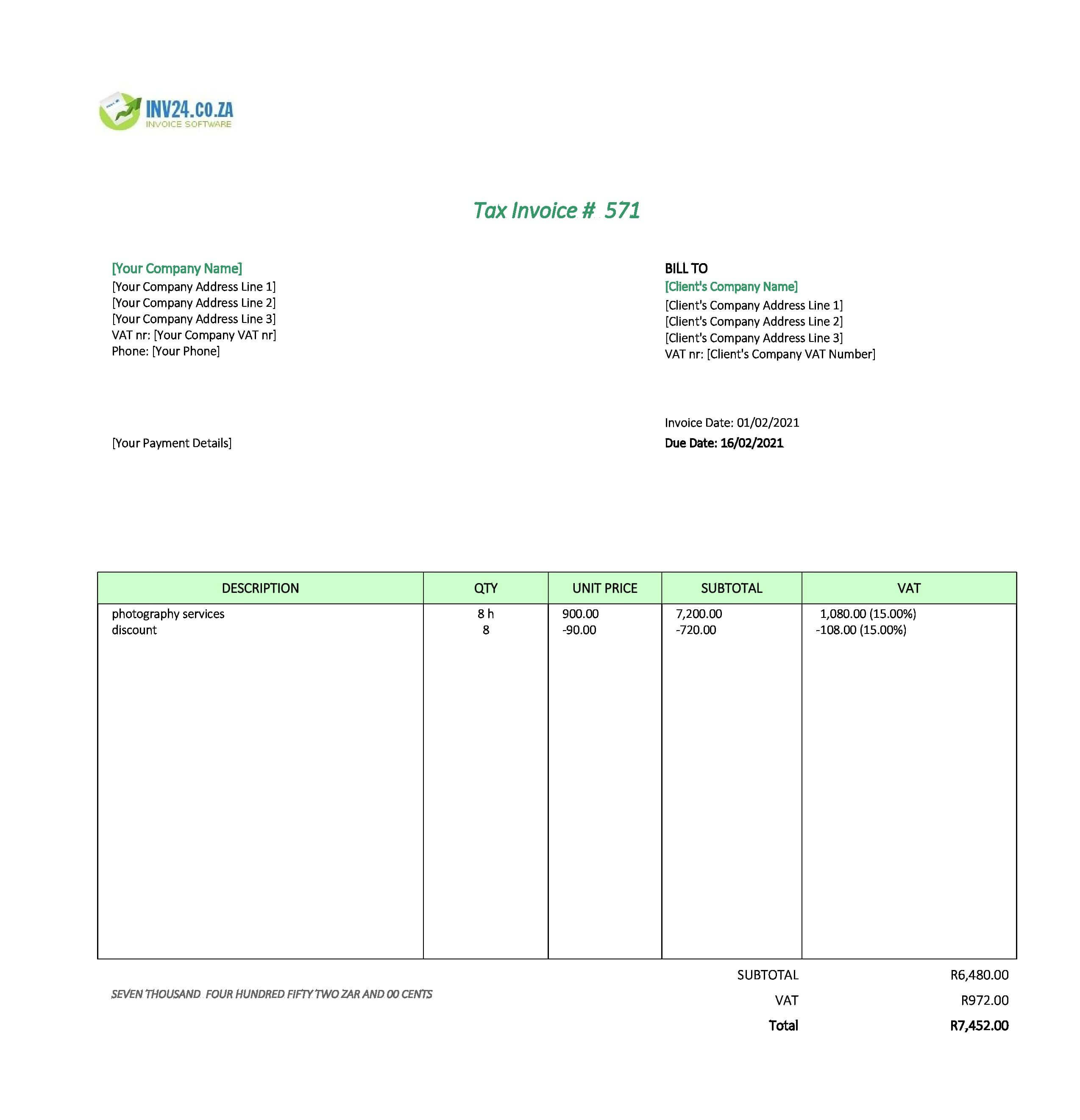 photography invoice template south africa