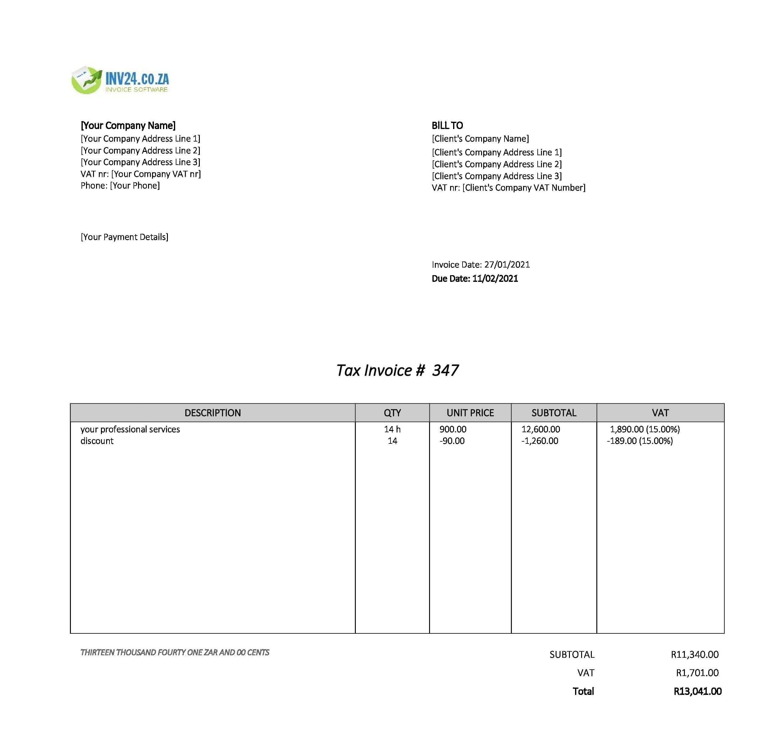 professional invoice template south africa