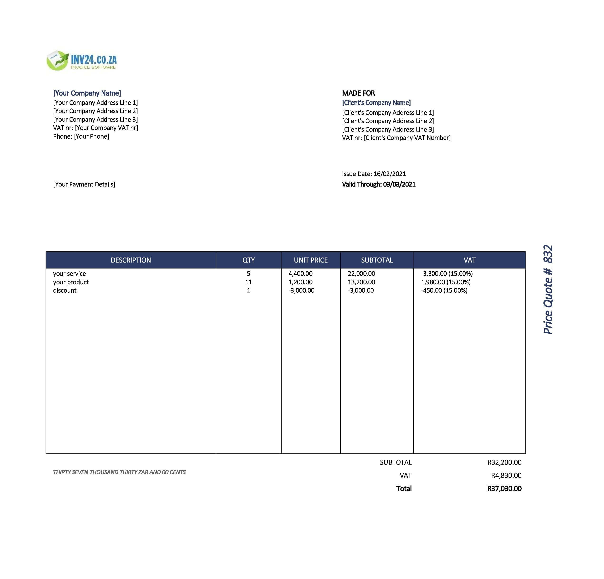 quotation template excel south africa