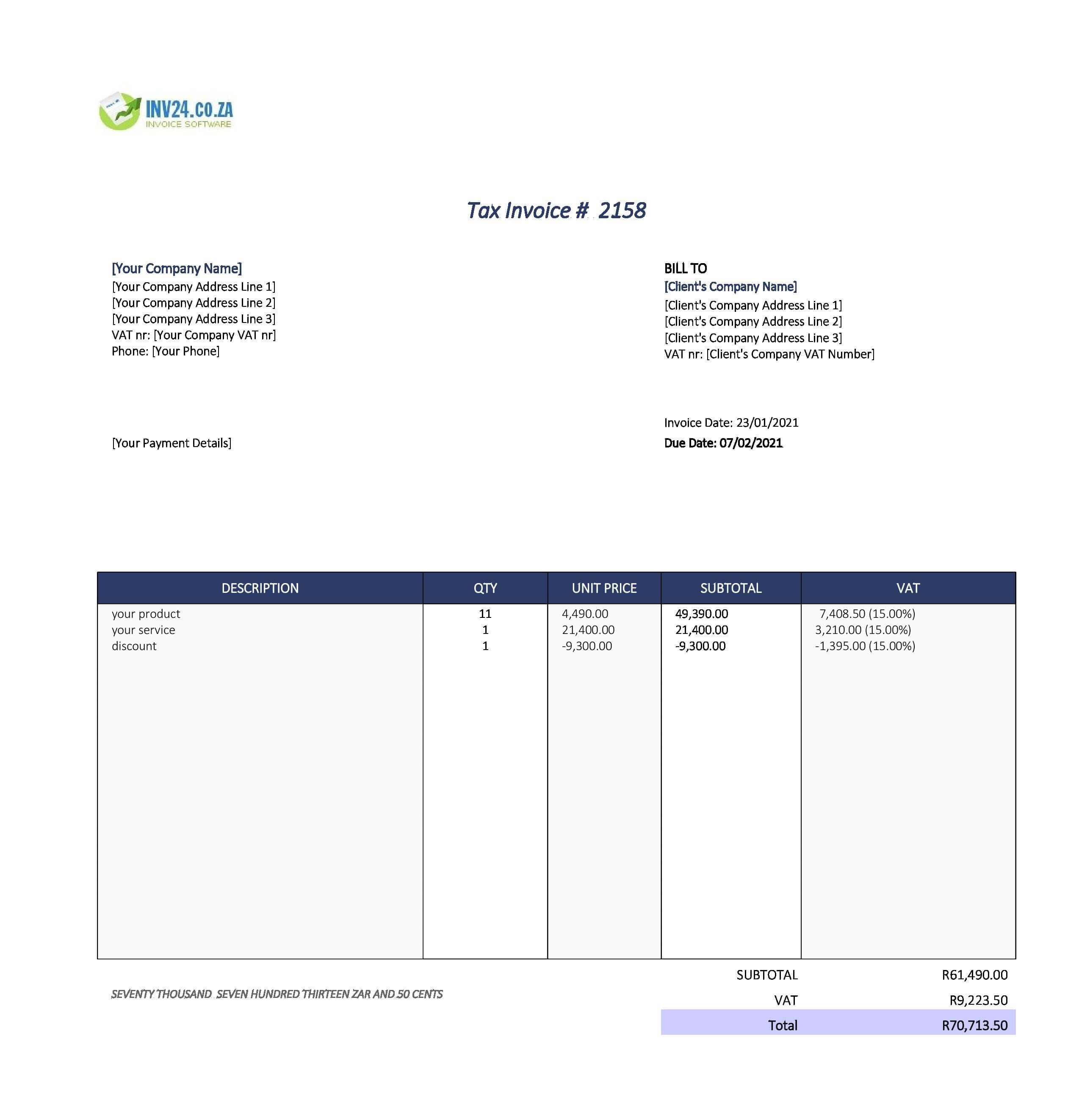 simple invoice template south africa
