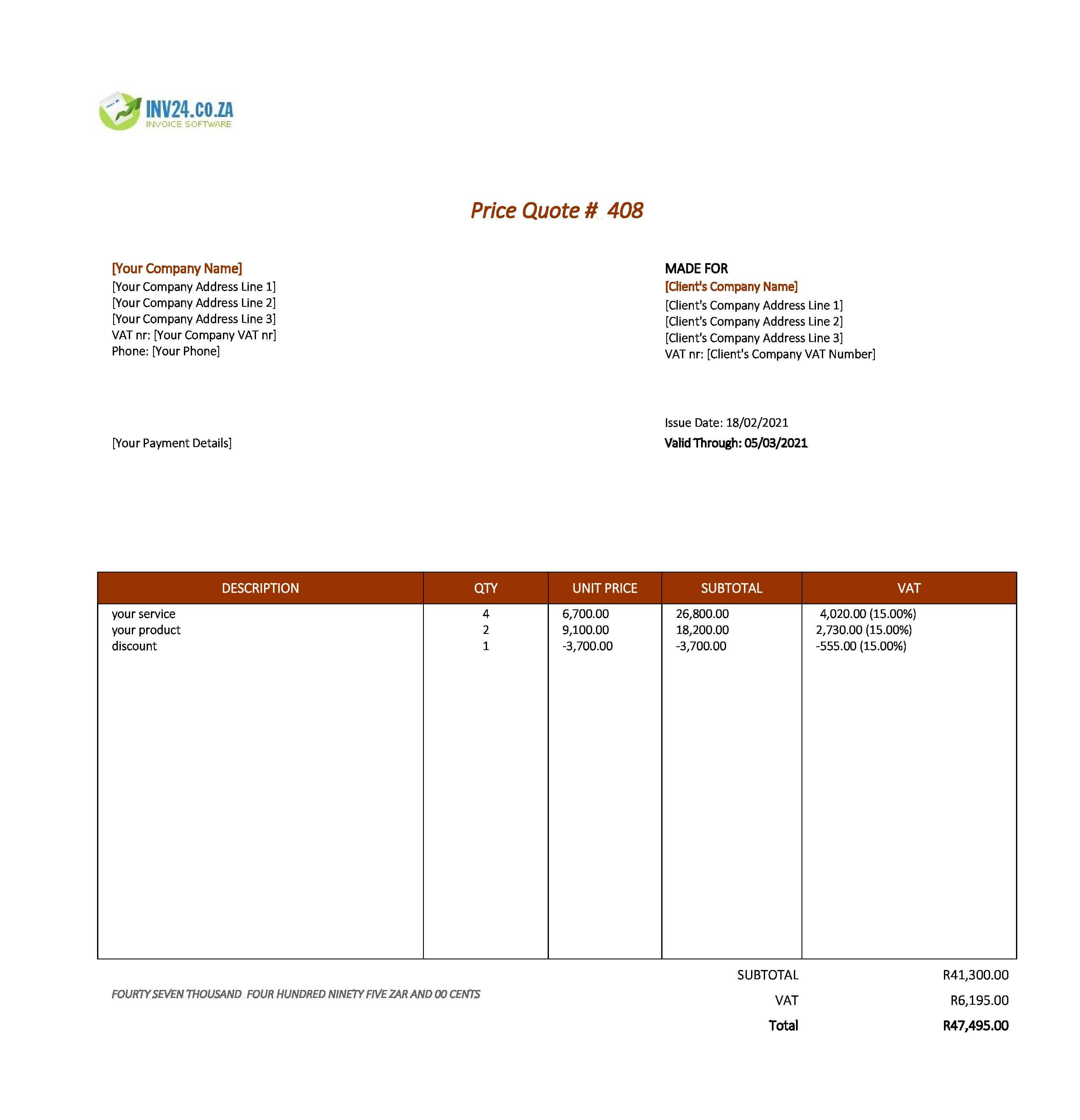 simple quotation format south africa