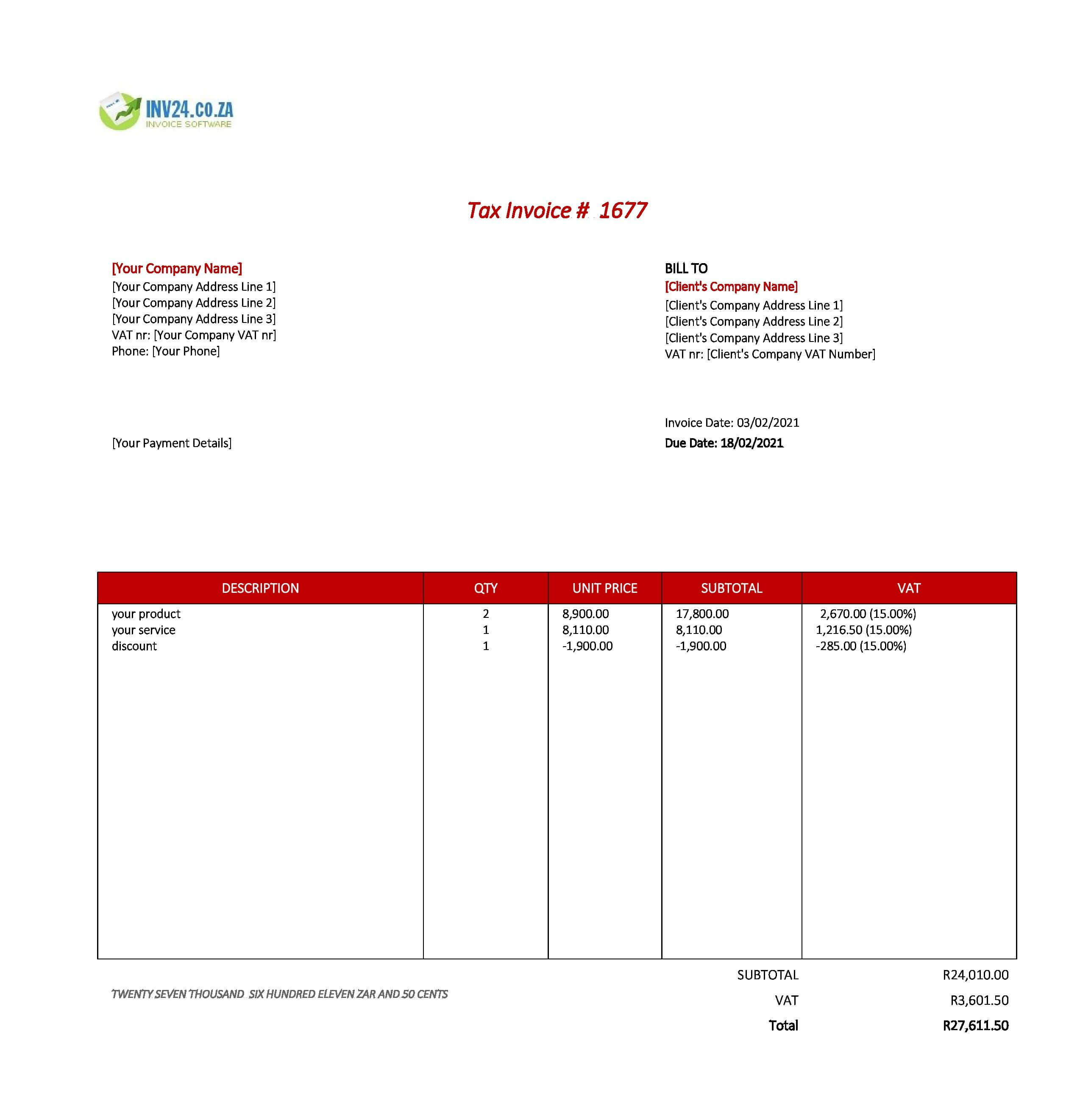 standard invoice template south africa