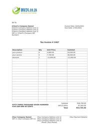 south african html invoice template