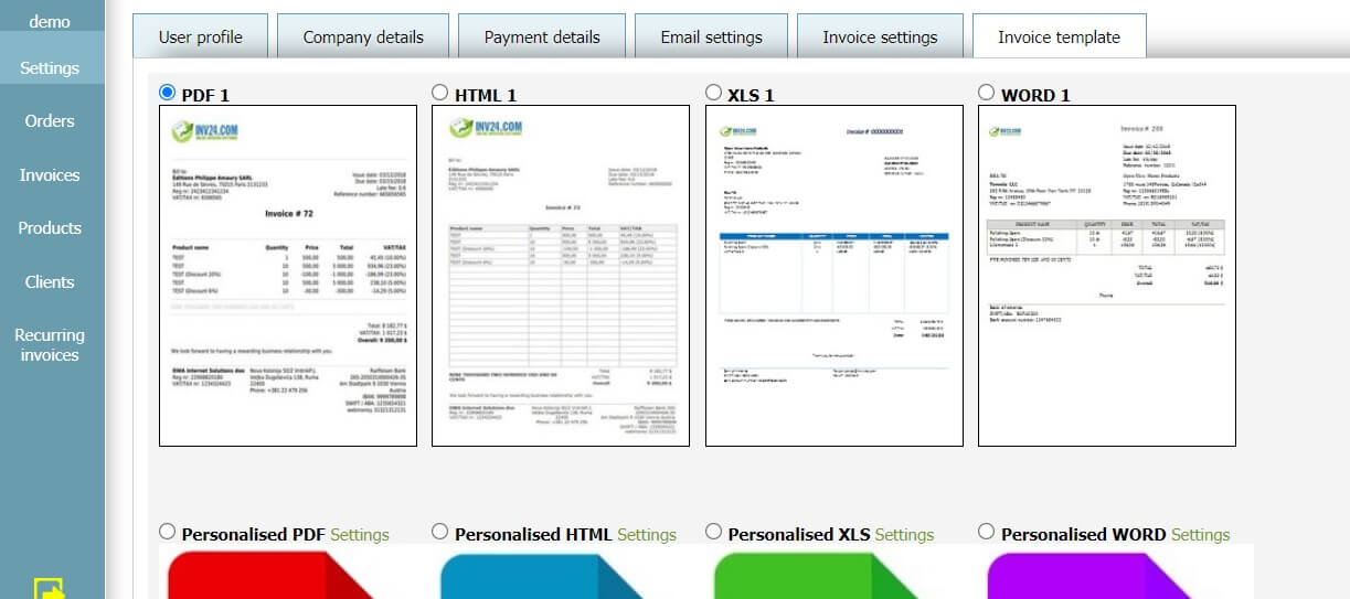 User profile - Invoice template