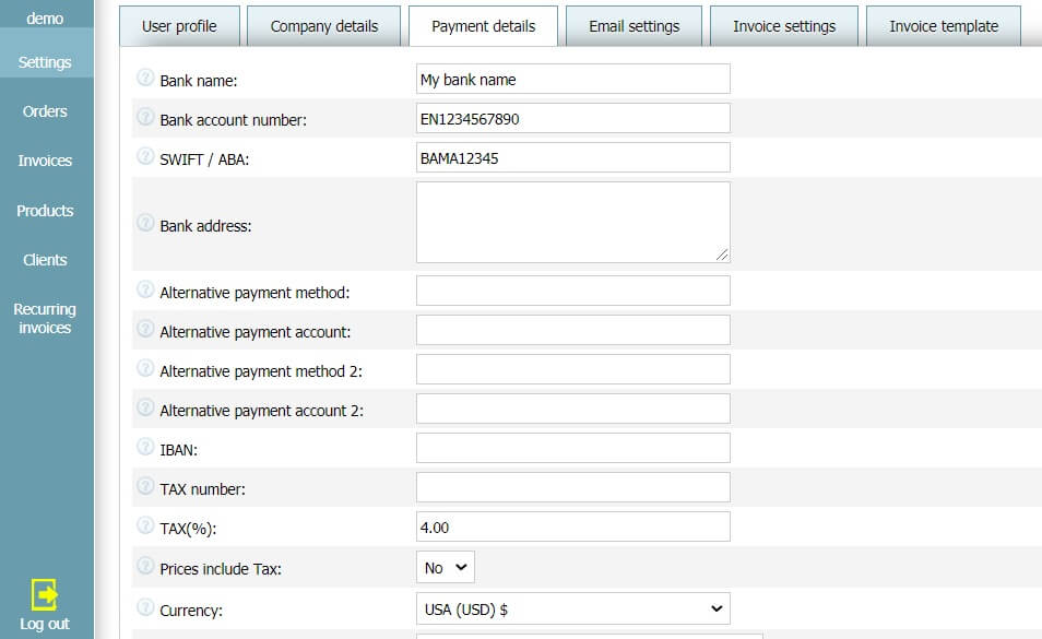 User profile - Payment details