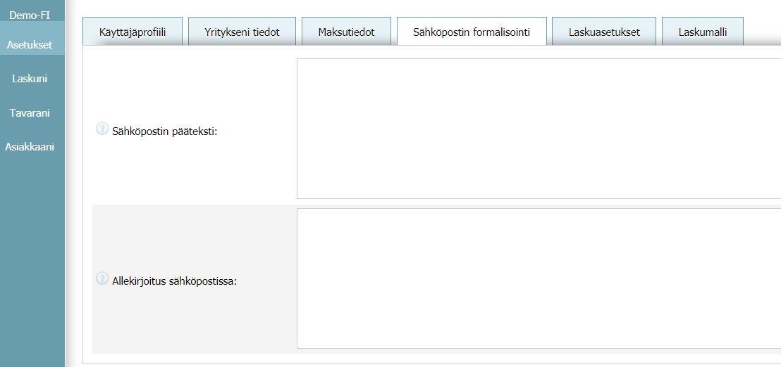 Käyttäjäprofiili - Sähköpostin formalisointi
