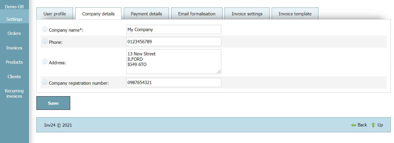 User profile - Company details