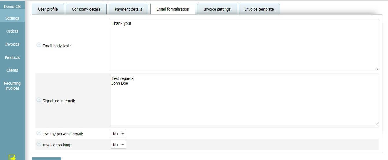 User profile - Email settings