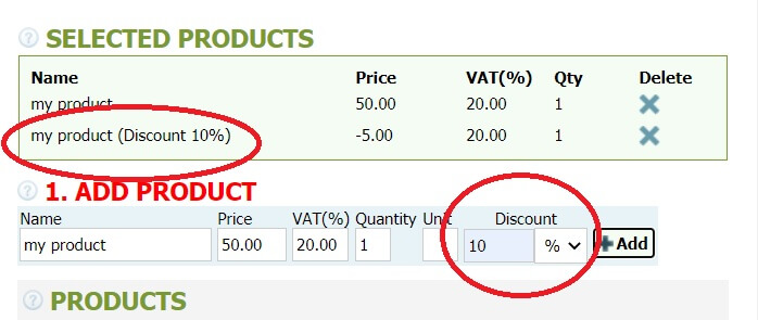 How to make an invoice with discounts