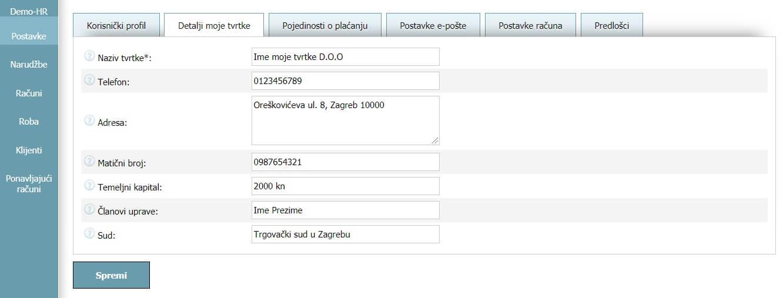 Korisnički profil - Detalji moje tvrtke