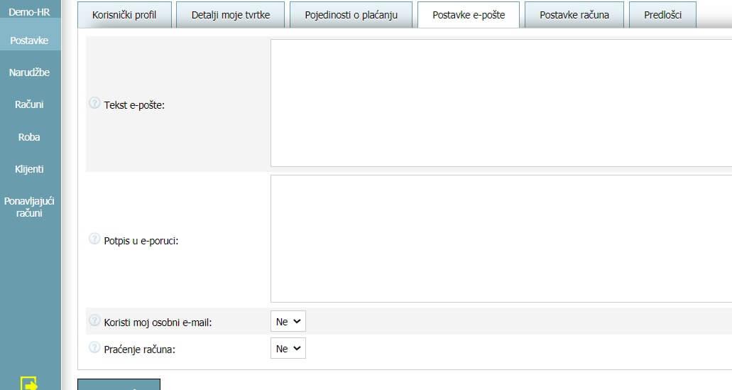 Korisnički profil - Postavke e-pošte