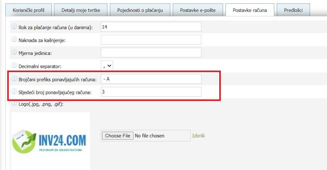 U postavkama računa možete postaviti 2 parametra za ponavljajuće račune:
