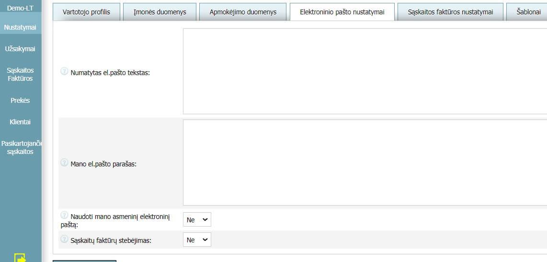 Vartotojo profilis - Elektroninio pašto nustatymai