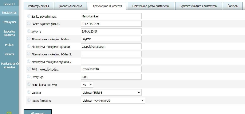 Vartotojo profilis - Apmokėjimo duomenys