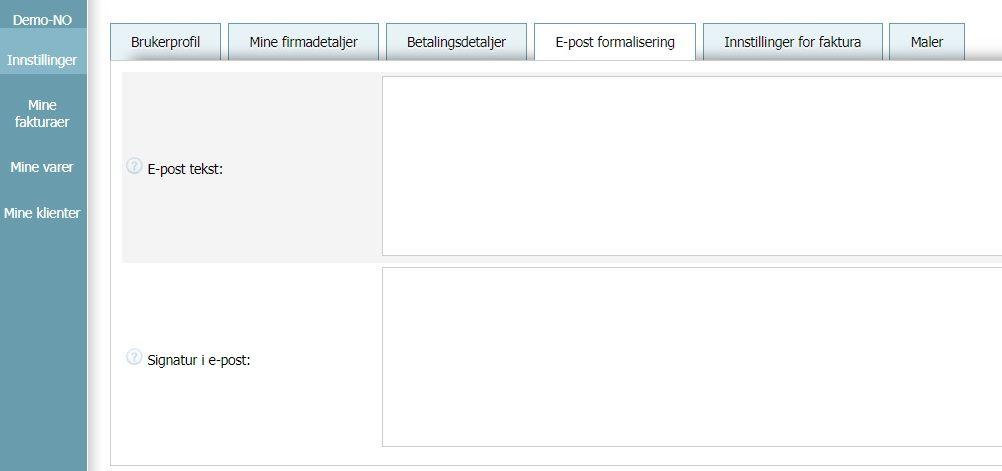 Brukerprofil - Innstillinger for e-post