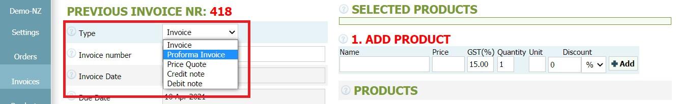 How to create a proforma invoice