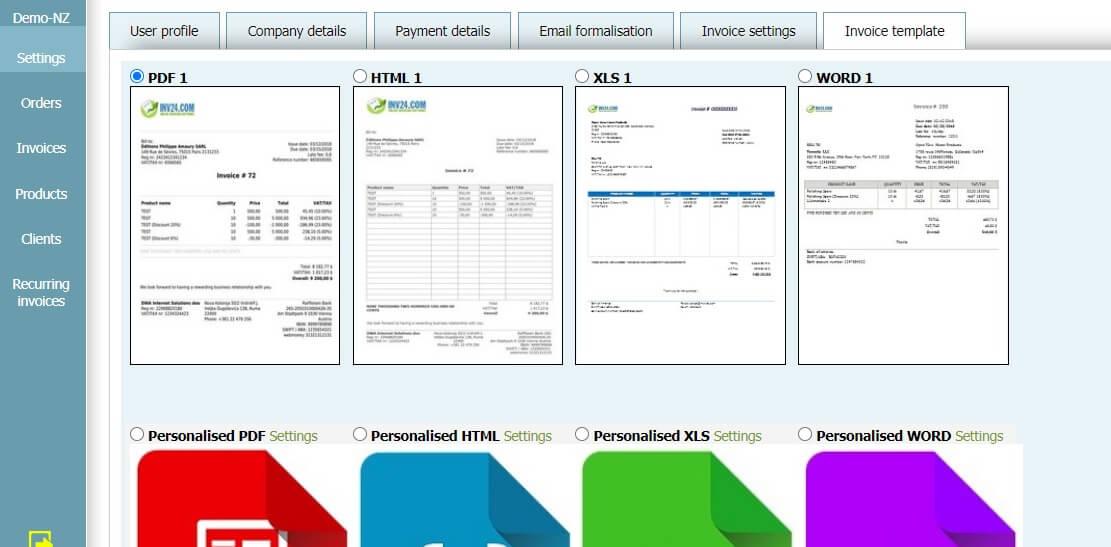 User profile - Invoice template