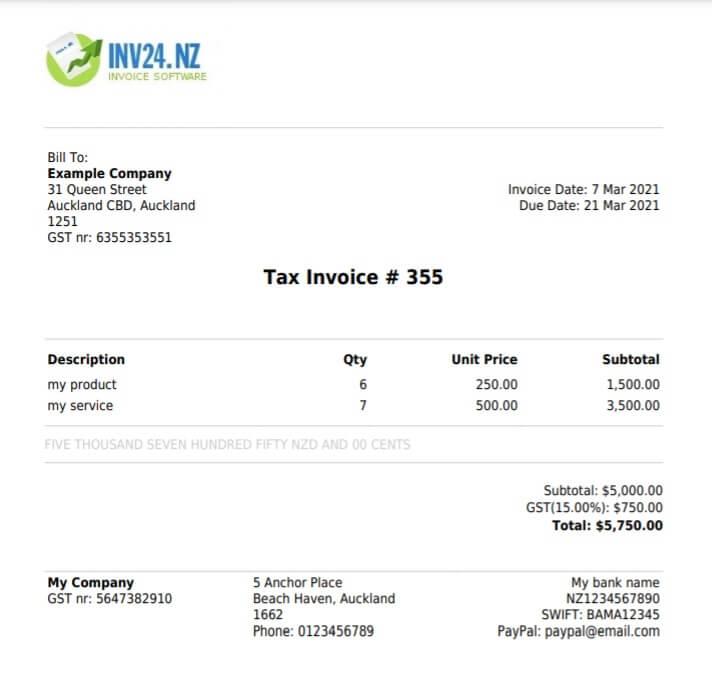 PDF invoice example: