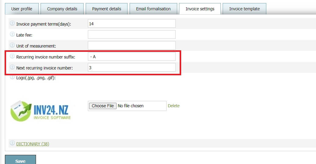 In invoice settings you can set 2 parameters for recurring invoices: